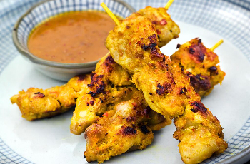 Chicken satay cooked on plate